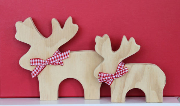Wooden Raindeer Christmas Decoration - large