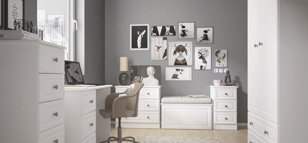 Elle White Bedroom Range. EXPRESS DELIVERY OPTION.