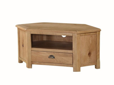 French Oak Corner TV Unit