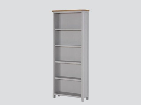 French Oak / Stone Grey Painted Tall Bookcase