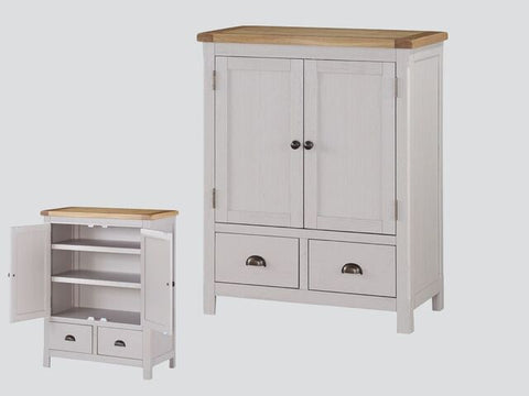 French Oak / Stone Grey 2 Drawer Chest / Linen Press.