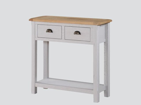 French Oak / Stone Grey Painted Large Hall Table with 2 Drawers