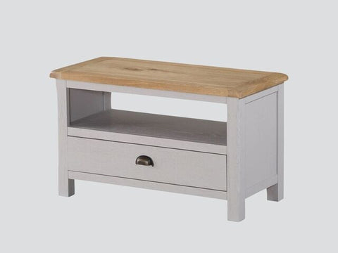 French Oak / Stone Grey Painted Compact TV Unit