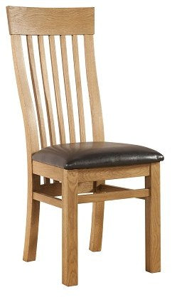Stourbridge Oak Curve Back Dining Chair with PU Seat