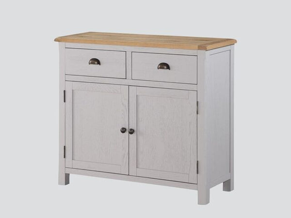 French Oak / Stone Grey Painted 3 Door / Drawer Sideboard