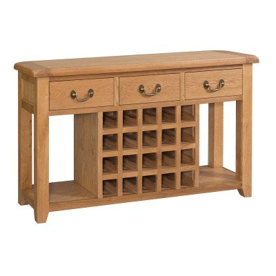 Stourbridge Oak Open Sideboard with Wine Rack