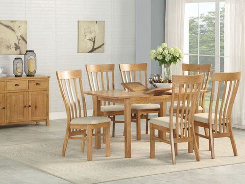 French Oak Extending Dining Table & 4 Chairs