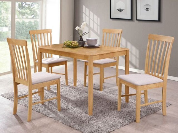 Budget Oak Finish Round Drop Leaf Dining Table with 4 Chairs.