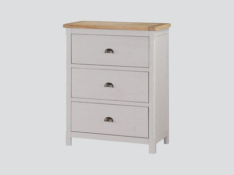 French Oak / Stone Grey 3 Drawer Jumper Chest.