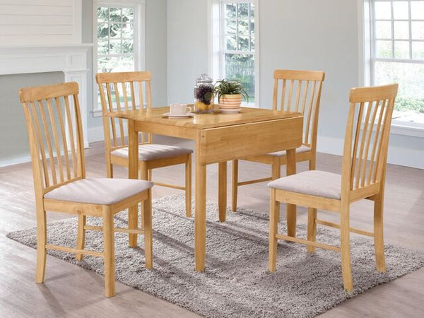 Budget Oak / Grey Painted Round Drop Leaf Dining Table with 4 Chairs.