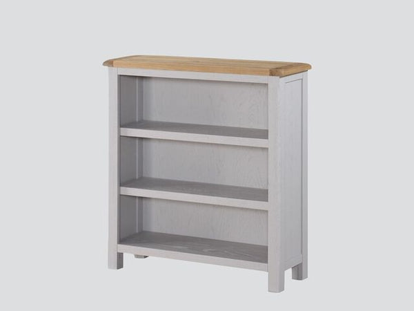 French Oak / Stone Grey Painted Low Bookcase