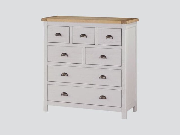 French Oak 7 Drawer Chest.