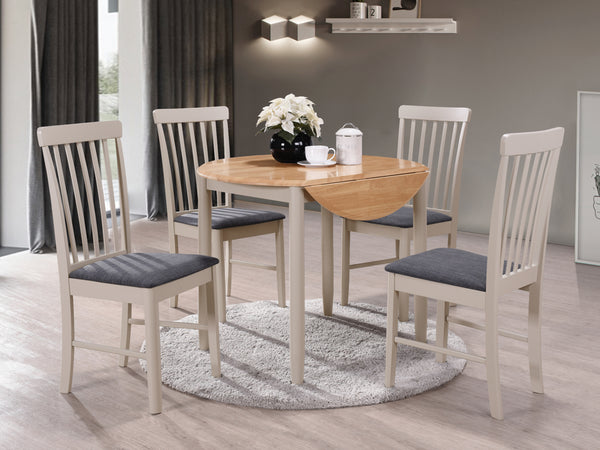 Budget Oak Finish / Grey Painted Drop Leaf Dining Table with 4 Chairs.