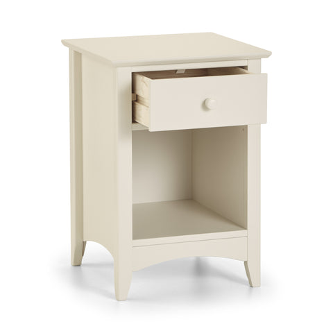 A stone white lacquered, shaker style bedside chest with 1 drawer and an open storage area below the drawer. Part of the Charmaine range of furniture.