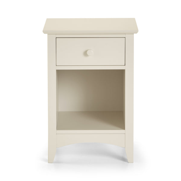 A stone white lacquered, shaker style bedside chest with 1 drawer.