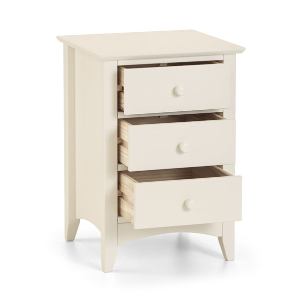 3 drawer stone white lacquered, shaker style bedside chest. Part of the Charmaine range.