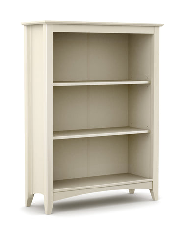 Part of the Charmaine range. A shaker style bookcase with 2 adjustable shelves in our durable stone white lacquer.