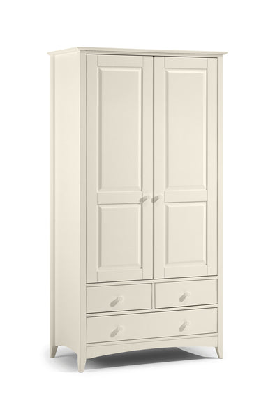Charmaine range. A stone white lacquered, shaker style wardrobe with 2 doors and 3 drawers.