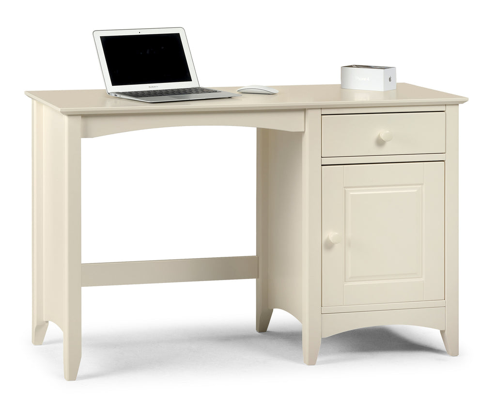 A stone white lacquered, shaker style desk with storage and good sized work surface. Charmaine range