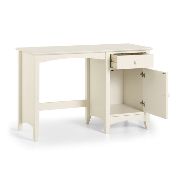 A stone white lacquered, shaker style desk with storage and good sized work surface. Charmaine range.