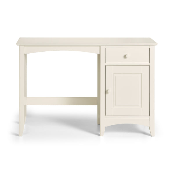 A stone white lacquered, shaker style desk with storage and good sized work surface.