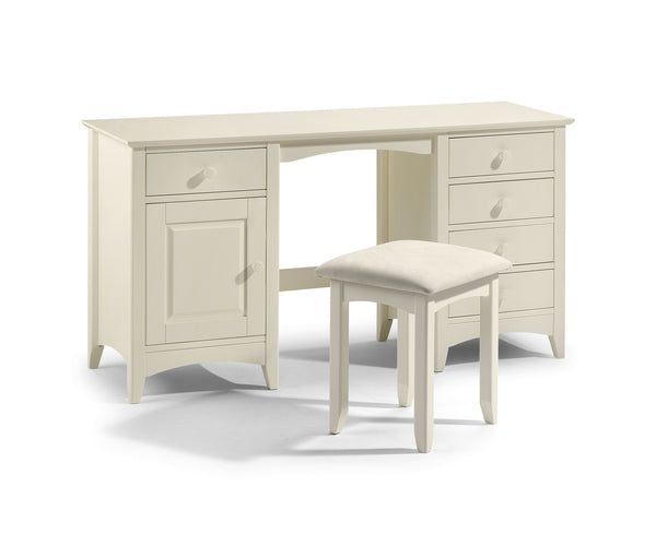 Charmaine range. Twin Pedestal Dressing Table in Painted Stone White Finish