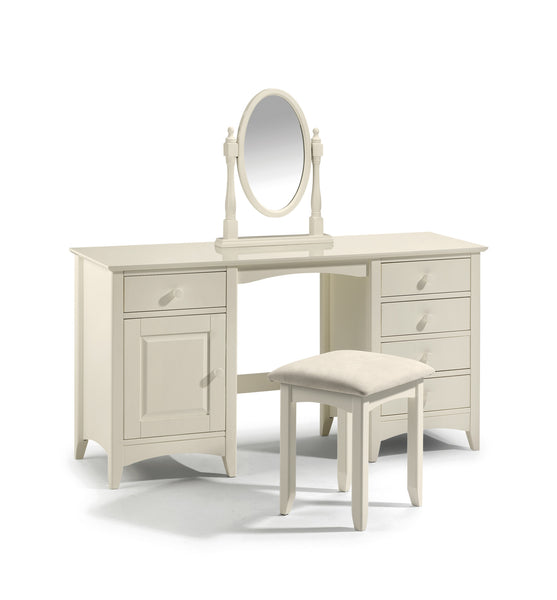 Twin Pedestal Dressing Table in Painted Stone White Finish