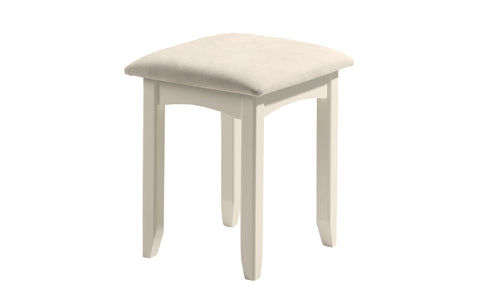Charmaine range. A stone white lacquered, shaker style stool with faux suede seat pad.