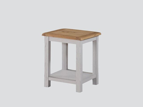 French Oak / Stone Grey Painted End Table