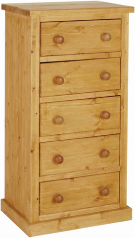 Crawford Pine 5 Drawer Wellington Chest