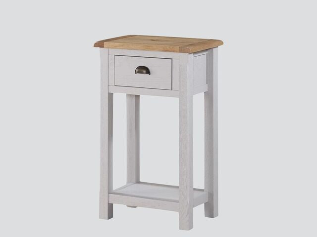 French Oak / Stone Grey Medium Hall Table with 1 Drawer