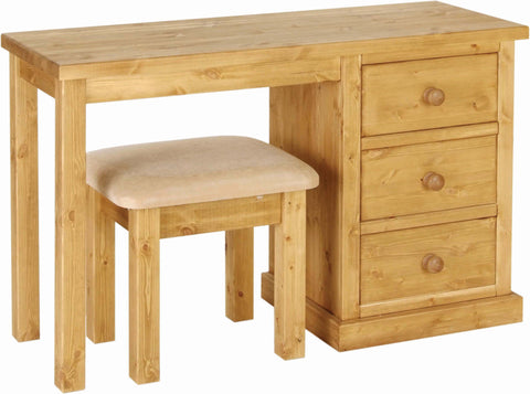 Crawford Pine Single Pedestal Dressing Table / Desk