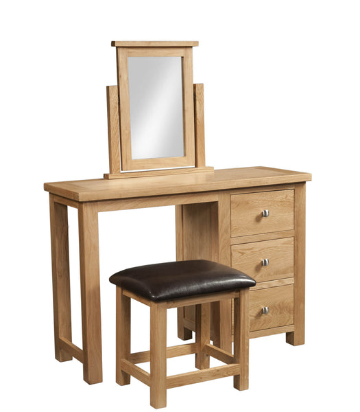 Dorking Oak Double Dressing Table / Desk with Stool