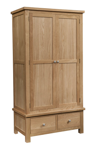 Dorset Oak Gents Wardrobe with 2 Drawers