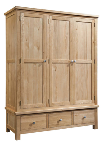 Dorking Oak Triple Wardrobe with 3 Drawers