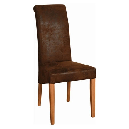 Brown Faux Suede Fabric Dining Chair