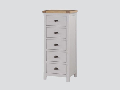 French Oak / Stone Grey 5 Drawer Narrow Chest