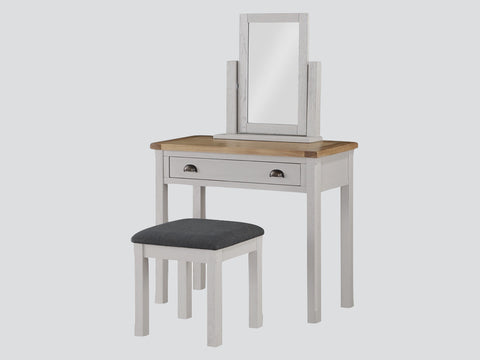 French Oak / Stone Grey Vanity Unit / Dressing Table with Stool.