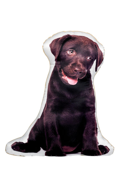 Chocolate Labrador Shaped Cushion