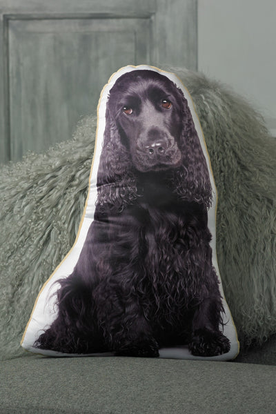 Black Cocker Spaniel Shaped Cushion