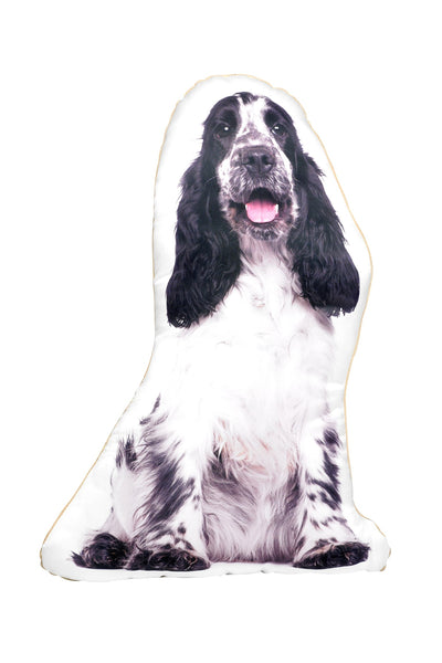 Black & White Cocker Spaniel Shaped Cushion