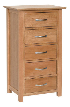 Newbury Oak 5 Drawer Wellington Chest