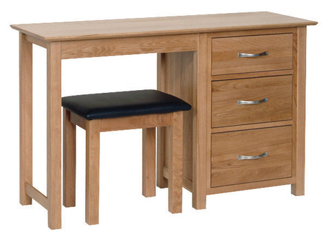 Newbury Oak Single Pedestal Dressing Table / Desk