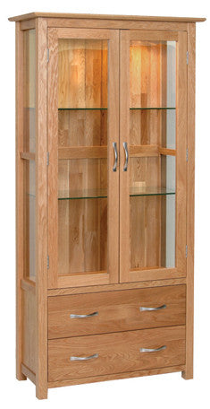 Newbury Oak Glazed Display Cabinet