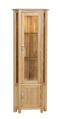 Newbury Oak Glazed Corner Display Cabinet
