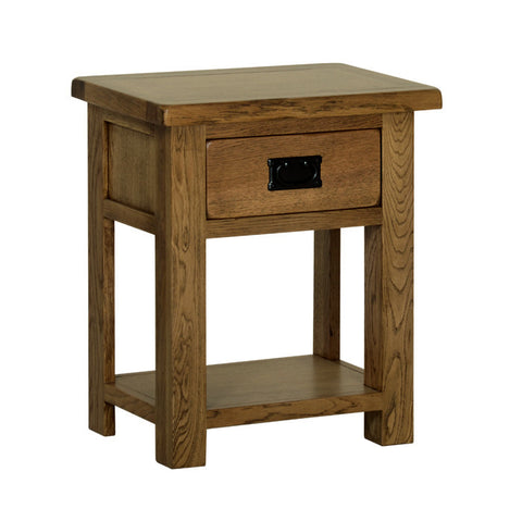 Rushbrooke Oak Lamp Table with Drawer