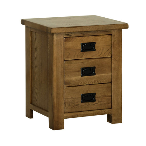 Rushbrooke Oak 3 Drawer Standard Bedside Chest