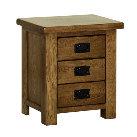Rushbrooke Oak 3 Drawer Small Bedside Chest