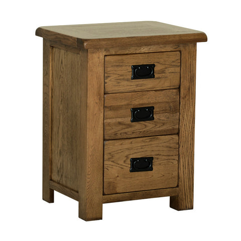 Rushbrooke Oak 3 Drawer High Bedside Chest