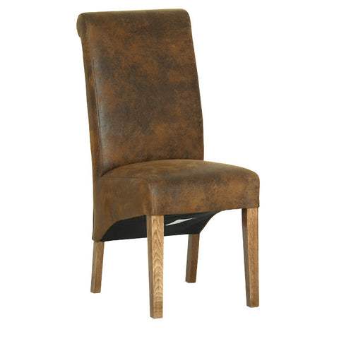 Rushbrooke Oak Faux Suede Dining Chair